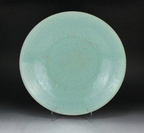 A Big Chinese Antique Celadon Glazed Porcelain Plate