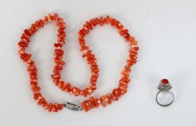 Two (2) Coral Necklace & Ring