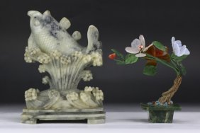 Two (2) Jade Or Stone Carving & Bonsai
