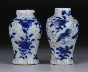 Pair Chinese Antique Blue & White Miniature Porcelain