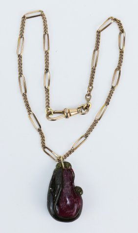 A Tourmaline Pendant Necklace