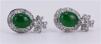 Pair Emerald Green Icy Jadeite Earrings, Diamond & 14K