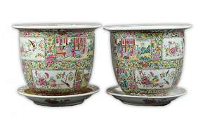 Pair Massive Chinese Rose Medallion Porcelain Pots With