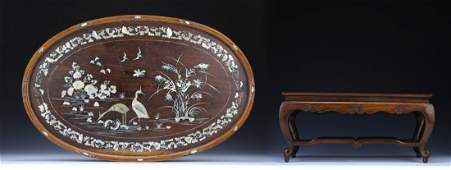 Two (2) Chinese Antique Hardwood Tray & Stand