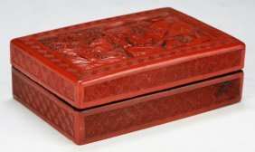 A Chinese Antique Cinnabar Lacquer Lidded Box