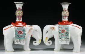 Pair Chinese Antique Famille Rose Porcelain Elephants