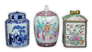 Three (3) Chinese Porcelain Lidded Jars