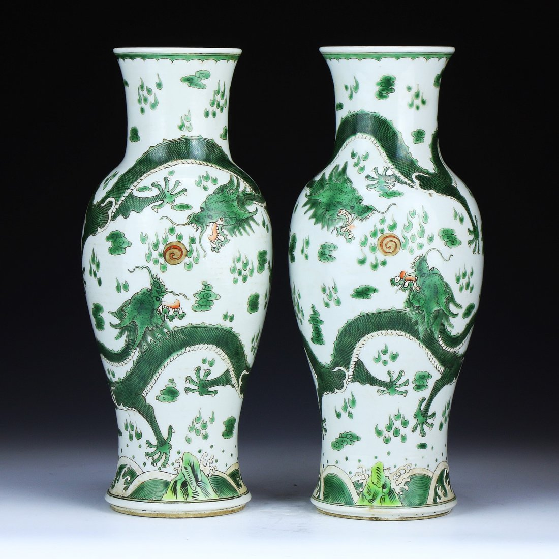 Pair Chinese Antique Famille Verte Iron Red Porcelain