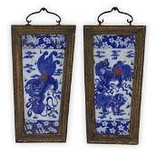 Pair Chinese Antique Framed Blue & White Porcelain