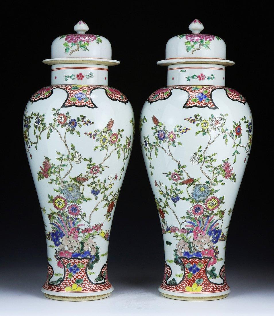 Pair Big Chinese Antique Famille Rose Lidded Porcelain