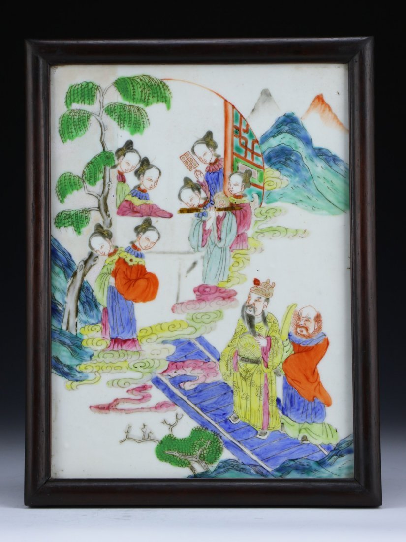 A Chinese Antique Framed Famille Rose Porcelain Plaque