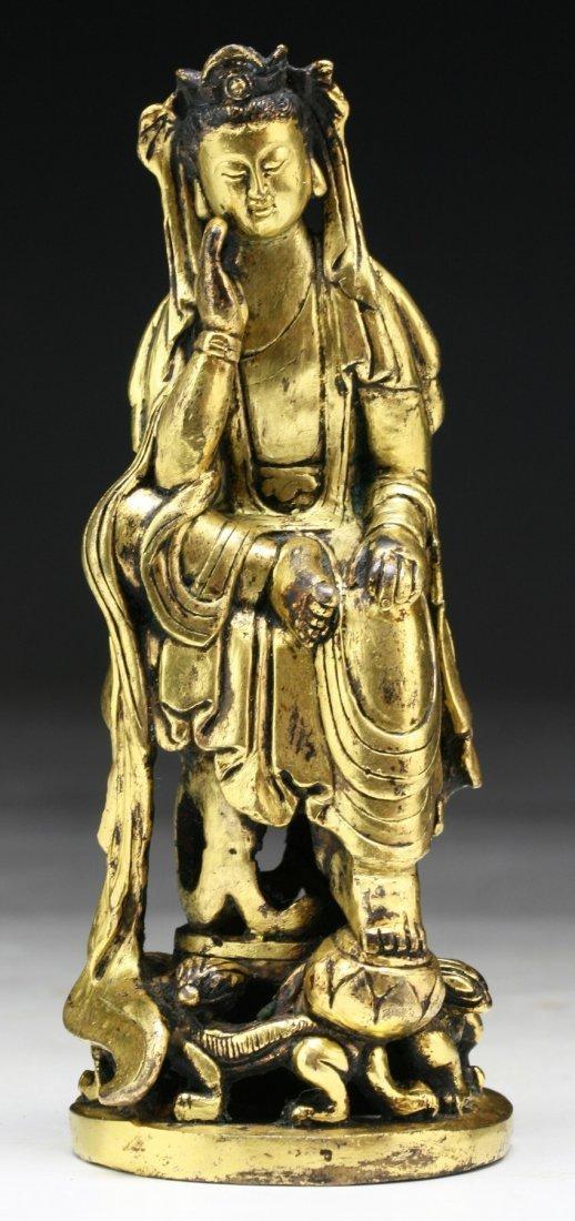 A Chinese Antique Gilt Bronze Guanyin