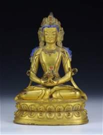 A Chinese Antique Gilt Bronze Amitayus