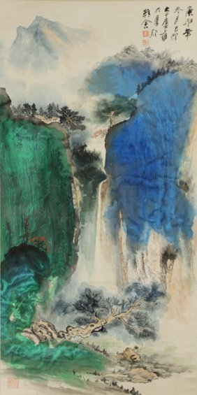 A Chinese Paper Hanging Painting Scroll By Zhang,