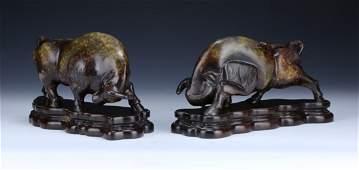 Pair Big Chinese Antique HETIAN Celadon Jade Bull