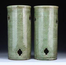 Pair Chinese Antique Celadon Glazed Porcelain Vases