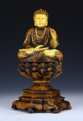A Chinese Antique Boxwood Carved Buddha