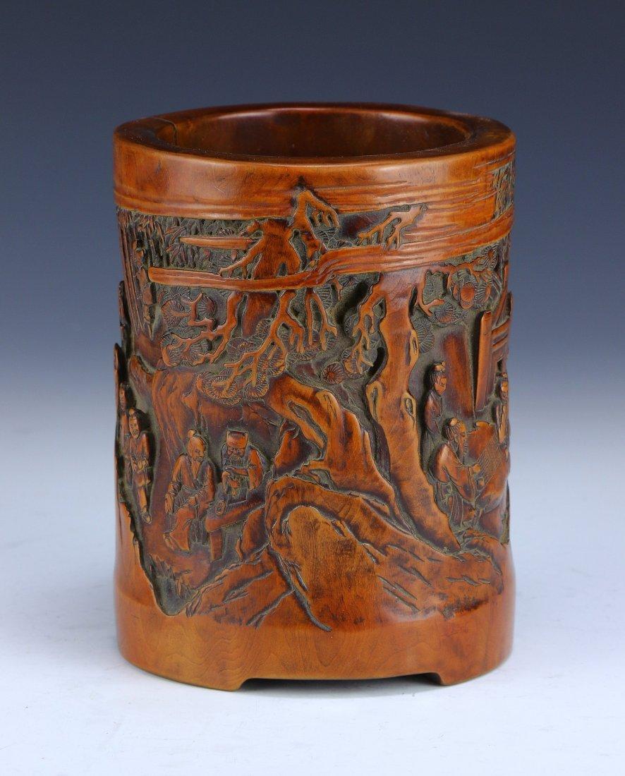 A Chinese Antique Boxwood HUANGYANGMU Brush Pot