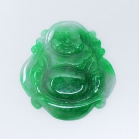 A Chinese Green Jadeite Carved Buddha Pendant