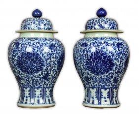 Pair Massive Chinese Blue & White Porcelain Lidded