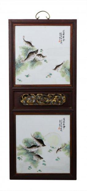 A Chinese Framed Famille Rose Porcelain Hanging Plaque