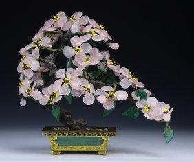 A Rose Quartz Carved Bonsai
