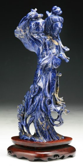 An Antique Carved Lapis Lazuli Beauty