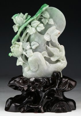 A Chinese Jadeite Carved Mountain Group
