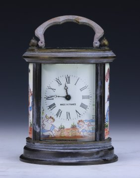 A French Export Cloisonne & Bronze Clock