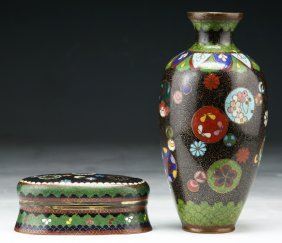 Two (2) Japanese Antique Enameled Cloisonne Items