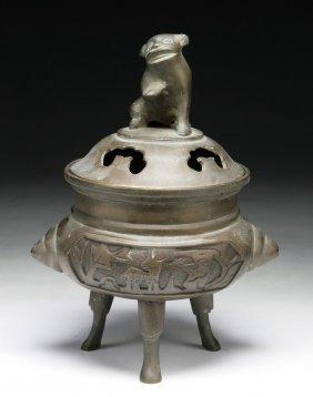 A Chinese Antique Bronze Tri-pod Censer