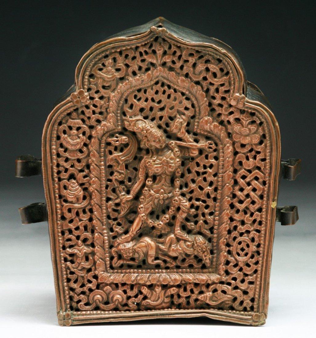 A Tibetan Antique Bronze Shrine