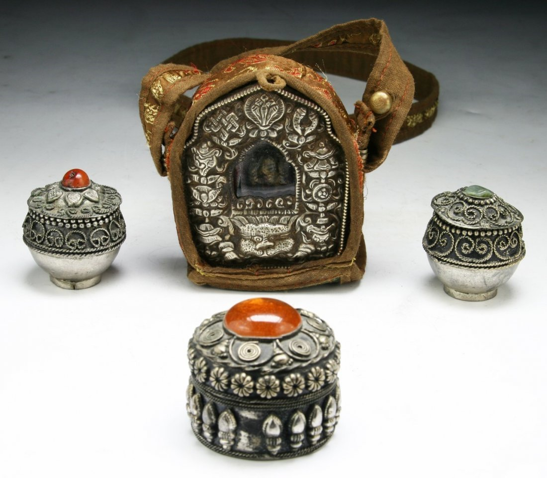 Four (4) Tibetan Silver Items & Embroidery
