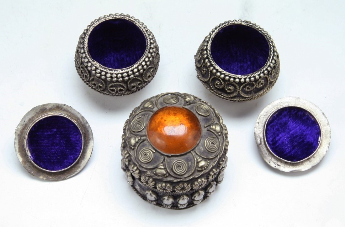 Four (4) Tibetan Silver Items & Embroidery - 3
