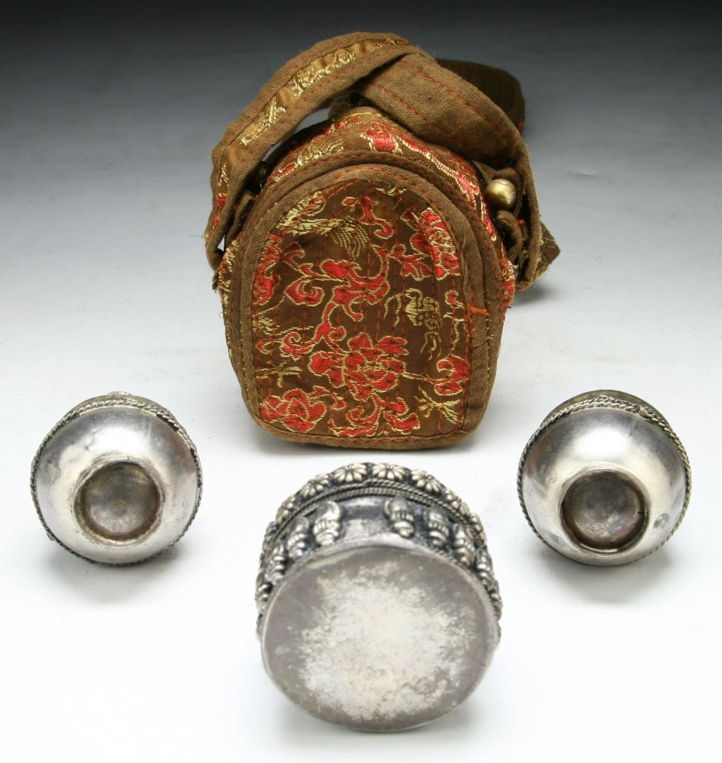 Four (4) Tibetan Silver Items & Embroidery - 4