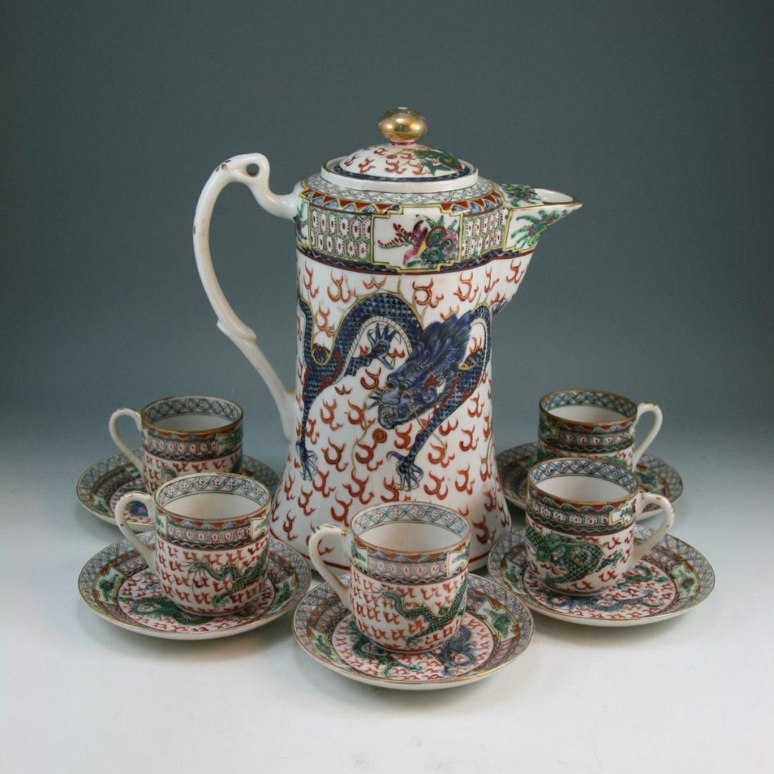 A Chinese Famille Rose Egg Shell Porcelain Teapot Set