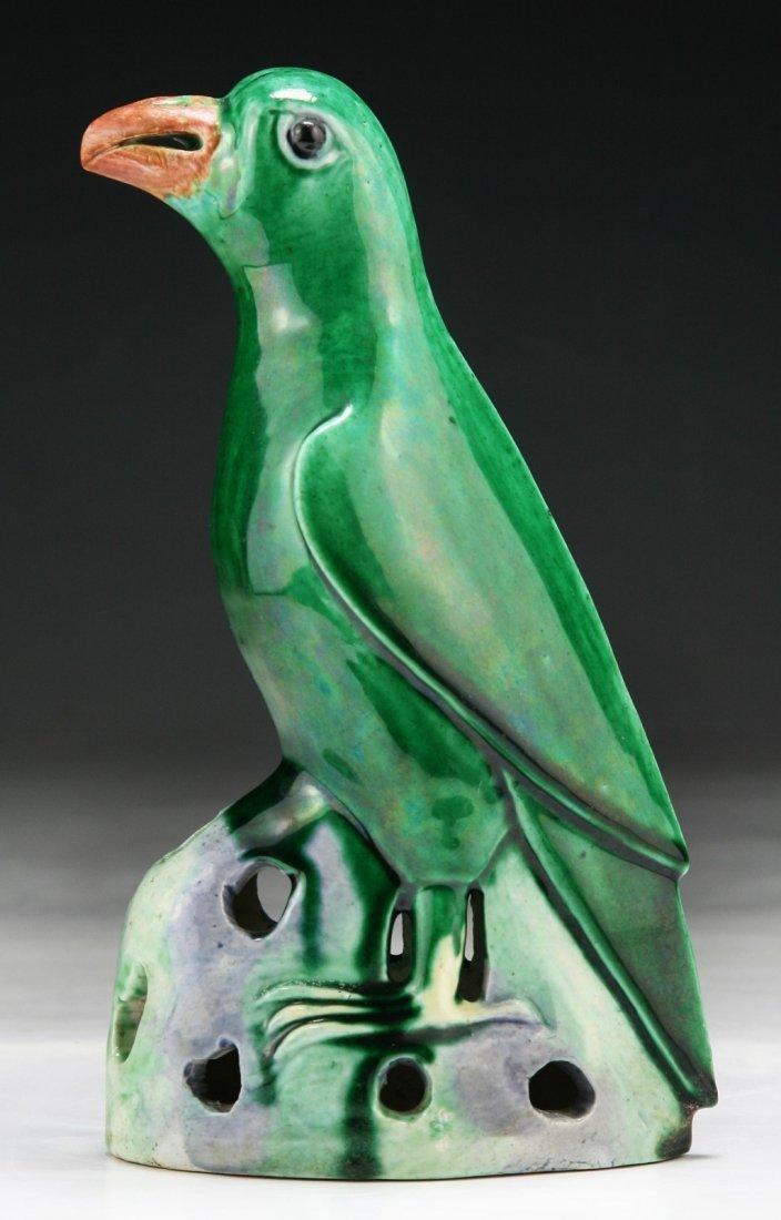 A Chinese Antique Famille Noire Porcelain Parrot