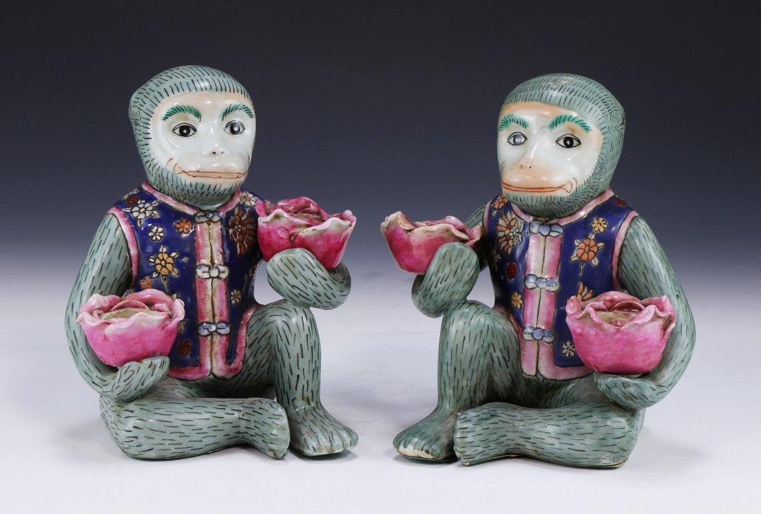 Pair Chinese Antique Porcelain Monkeys