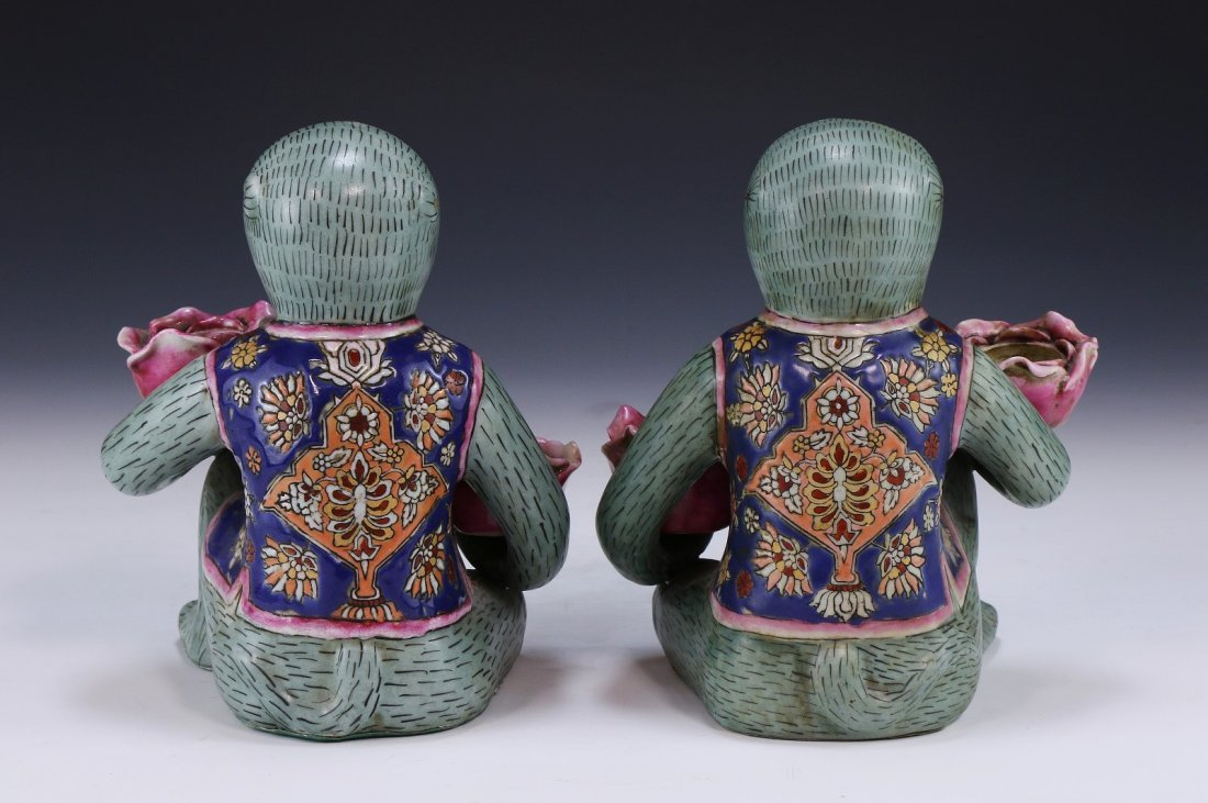Pair Chinese Antique Porcelain Monkeys - 2