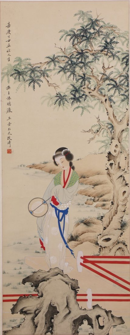 A Chinese Paper Hanging Painting Scroll By Gai, Qi