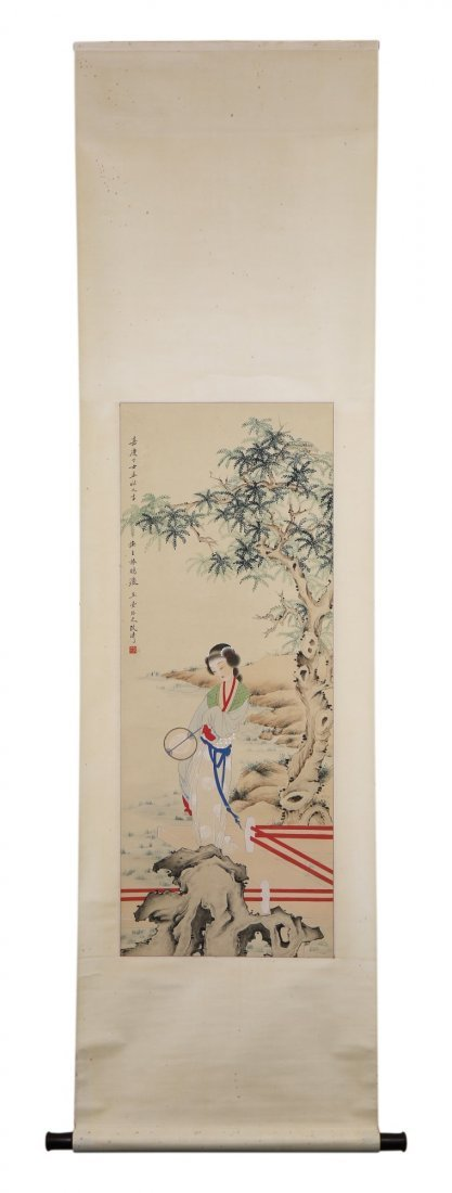A Chinese Paper Hanging Painting Scroll By Gai, Qi - 3
