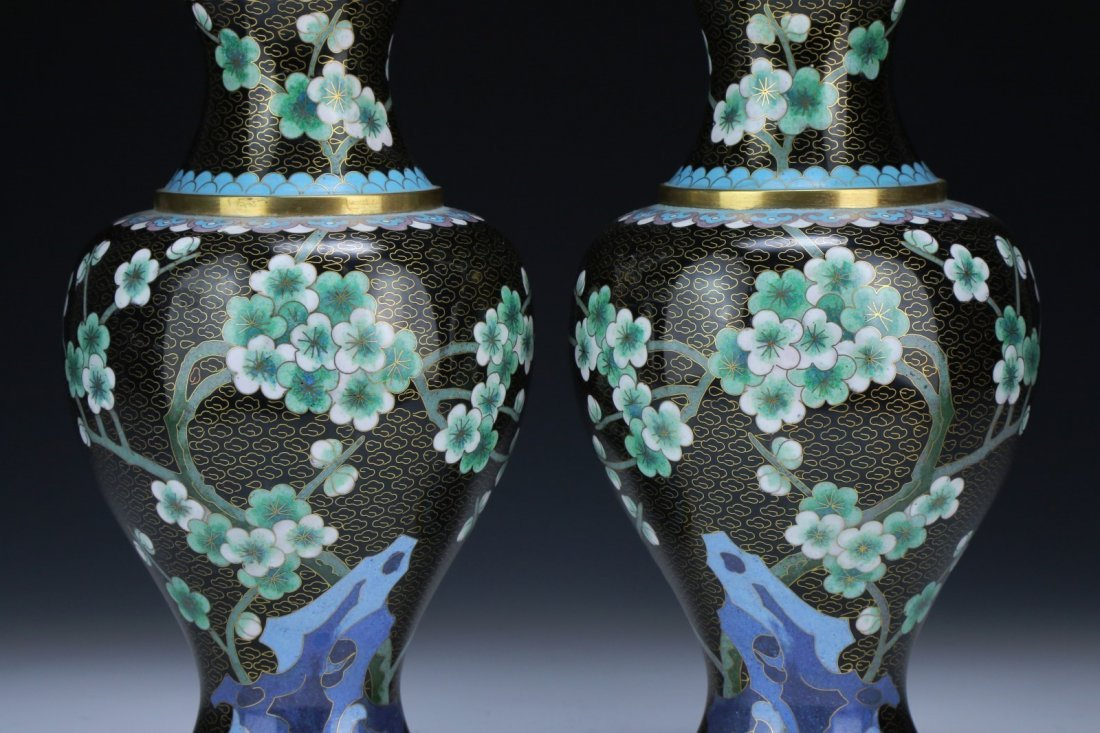 Pair Chinese Cloisonne On Bronze Vases - 2