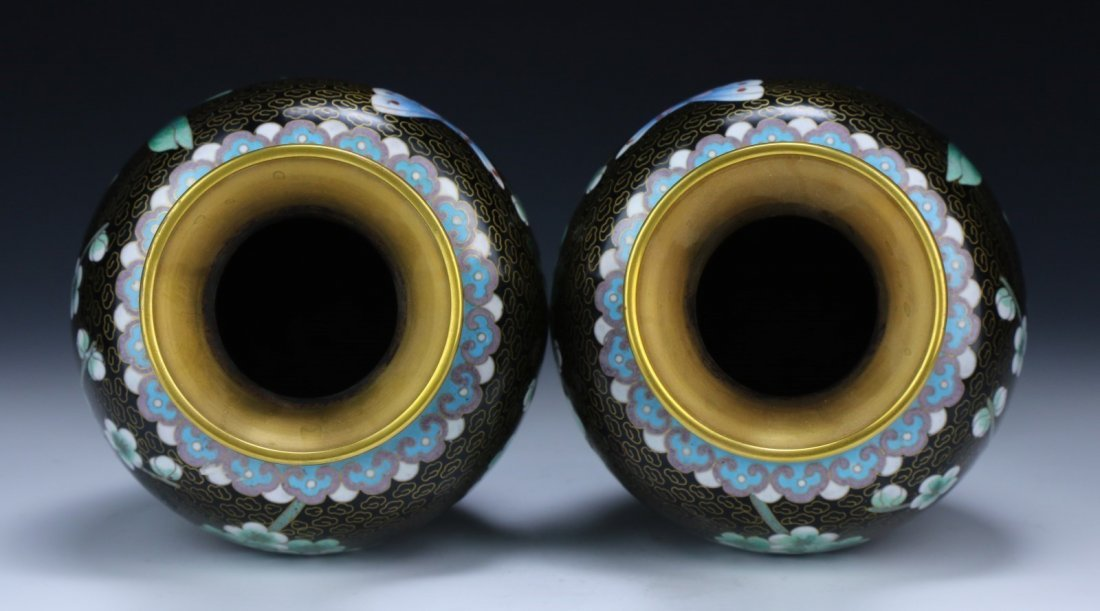 Pair Chinese Cloisonne On Bronze Vases - 3