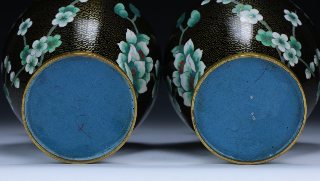 Pair Chinese Cloisonne On Bronze Vases - 4