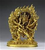A Tibetan Gilt Bronze Figure Of Vajrakila Heruka And