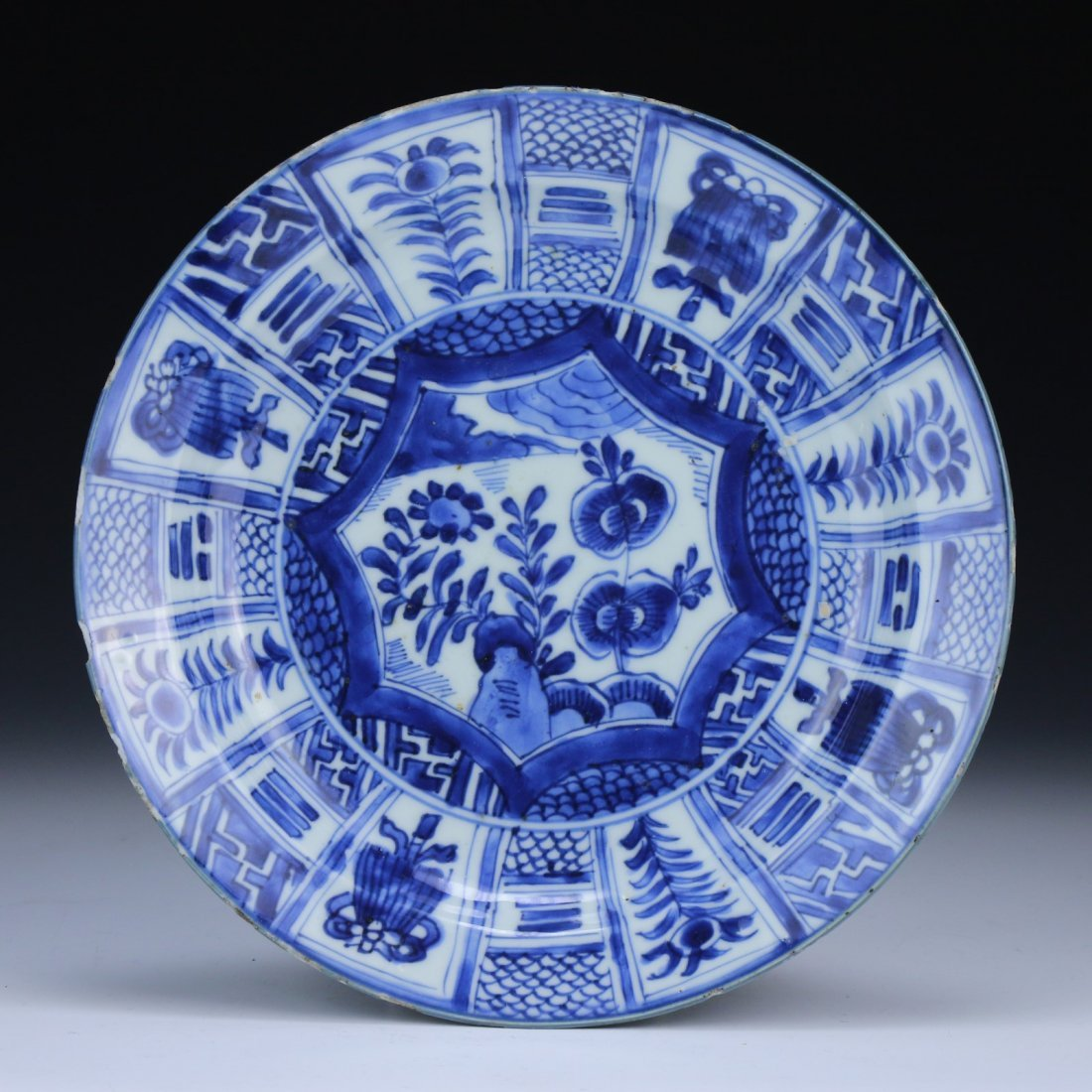 A Chinese Blue And White 'Kraak Porselein' Dish