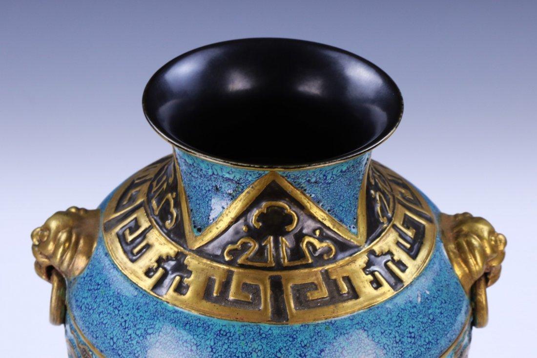 An Archaistic Gilt And Robin's Egg-Decorated Molded - 4