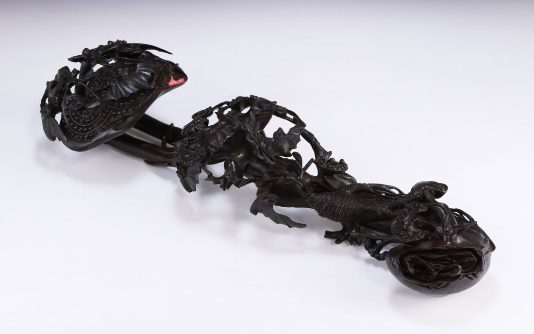 A Finely Carved Rosewood Ruyi Sceptre