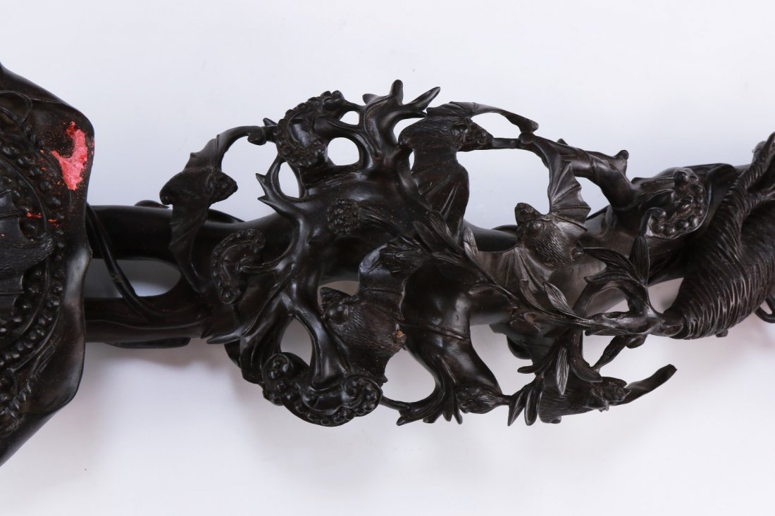 A Finely Carved Rosewood Ruyi Sceptre - 6