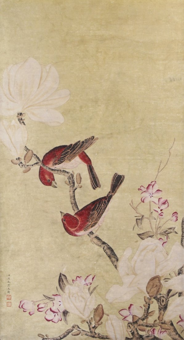 A Chinese Antique Paper Painting By Wang, Chengpei